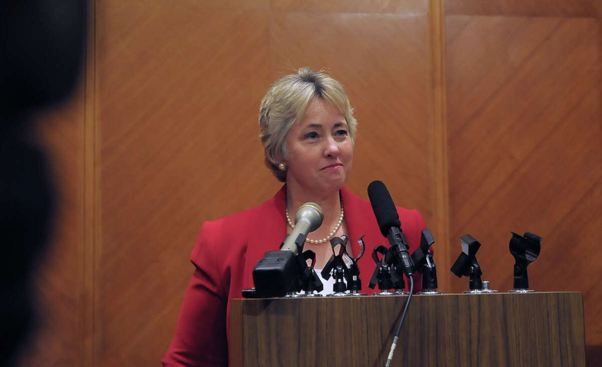 Houston Mayor Annise Parker addresses the media after the vote.