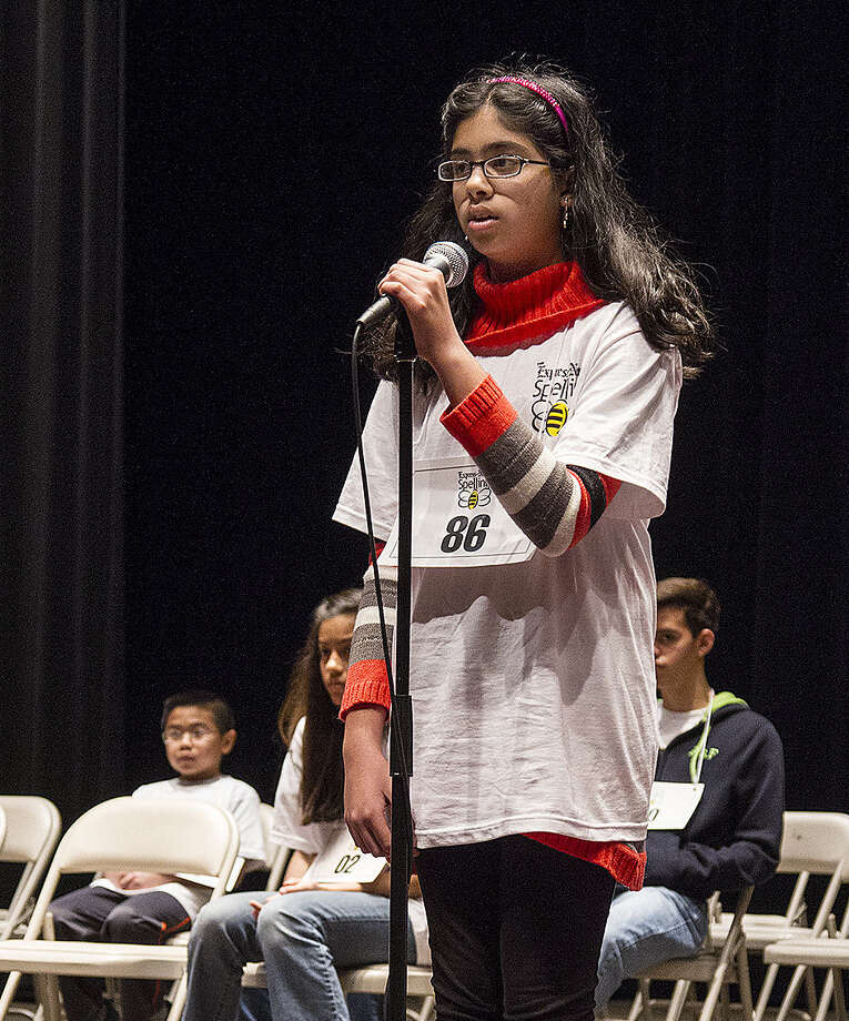 Nikhita Pathapati spelled her words correctly but, based on computer scores, didn't make the national semifinals. Photo: Alma E. Hernandez / For The Express-News / San Antonio Express-News