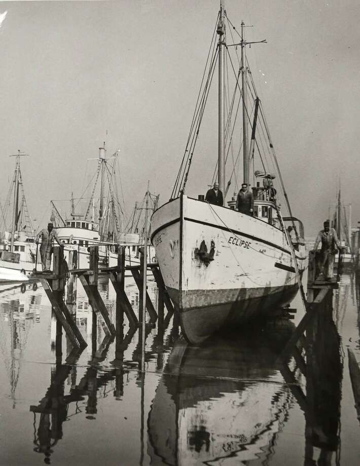 October 1965 Captain Adolph Samuelson, Dale Samuelson on bow of halibut schooner Eclipse. Photo: FILE PHOTO, SEATTLEPI.COM / SEATTLEPI.COM