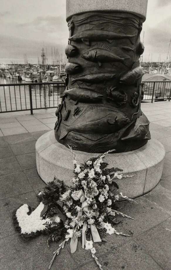 March 23, 1990 Original caption: Flowers placed at the base of a memorial at Fishermen's Terminal in Seattle. The wreaths at the memorial for crew members lost at sea mourns the loss of 10 members of the 162-foot Seattle based Aleutian Enterprise, a catcher-processor of bottom fish. The ship rolled over and sank 60 miles south of the Pribilof Islands in the Bering Sea. Photo: FILE PHOTO, SEATTLEPI.COM / SEATTLEPI.COM