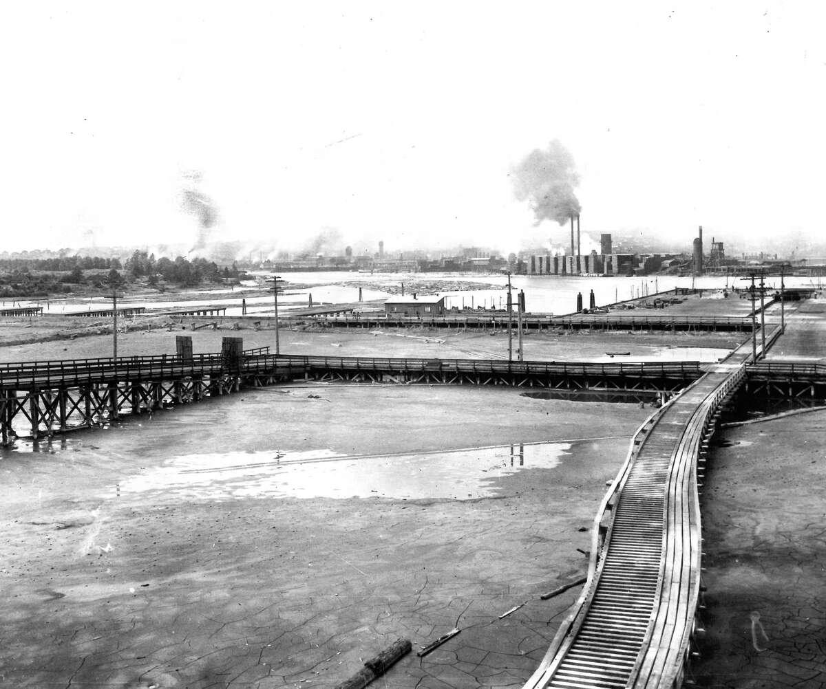Circa 1914 or 1915 Fishermen's terminal in Ballard is shown.