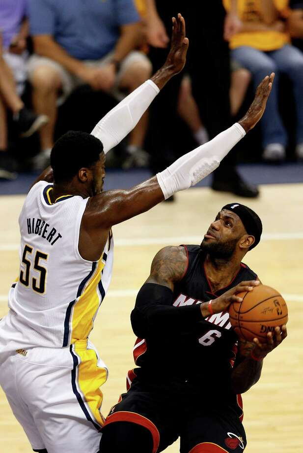 Roy Hibbert, left, and the Pacers held LeBron James to seven points Wednesday on 2-for-10 shooting. Photo: Joe Robbins, Stringer / 2014 Getty Images