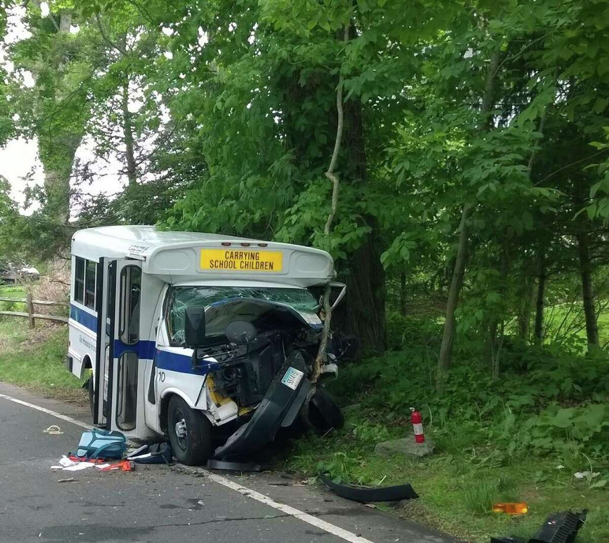 The scene of an accident involving a Stanwich School bus on Stanwich Road in Greenwich, Wednesday afternoon, May 28, 2014.
