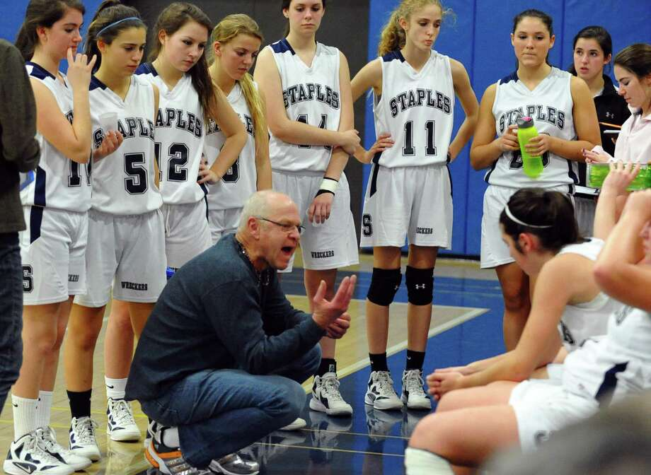 Fairfield Ludlowe's Head Coach Ed Huydic, during girls basketball action against Danbury in Westport, Conn. on Wednesday December 5, 2012. Photo: Christian Abraham / Connecticut Post