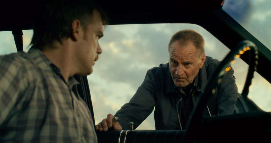 """Richard (Michael C. Hall, left) is confronted by ex-con Russel (Sam Shepard) in """"Cold in July."""""""