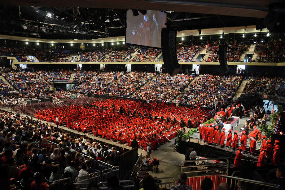 Cypress-Fairbanks school district graduation ceremonies, seen in a prior year, above, will air live on CFTV Ch. 16 and the district website between June 4-7. Photo: Cy-Fair ISD