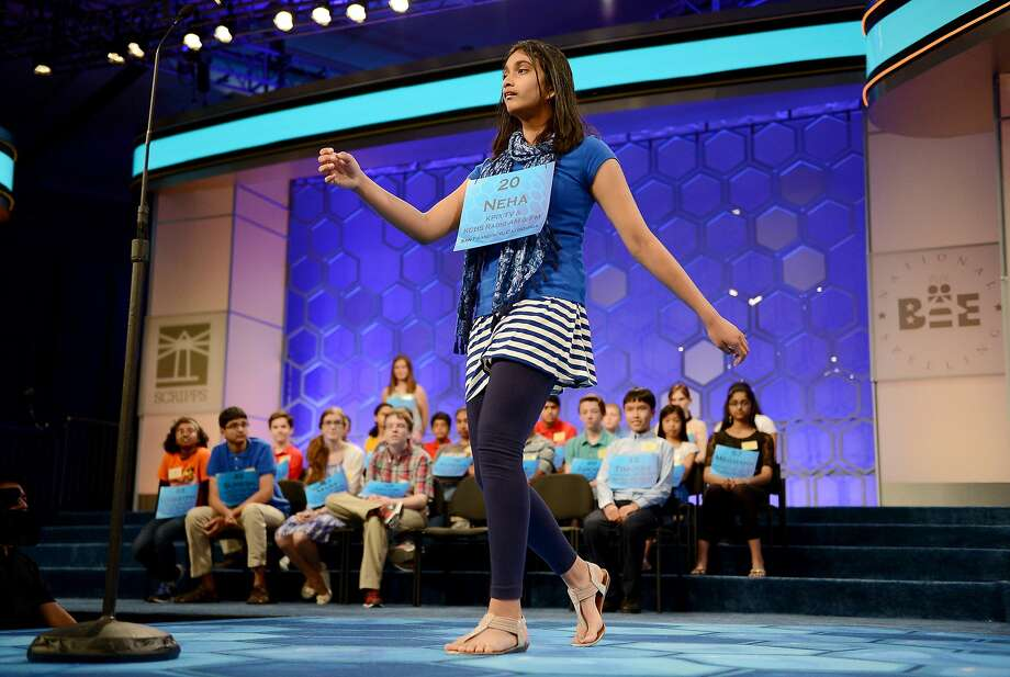Neha Konakalla, of Cupertino, Calif., competes in the semifinals of the 2014 Scripps National Spelling Bee in National Harbor, Md., Thursday, May 29, 2014. (Chuck Myers/MCT) Photo: Chuck Myers, McClatchy-Tribune News Service