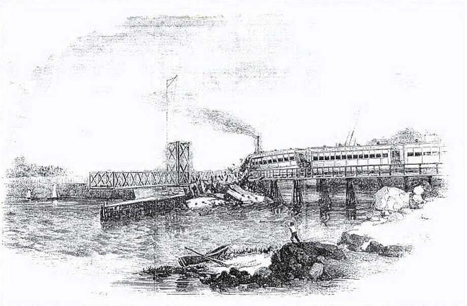 On May 6, 1853, the engineer of the 8 AM New York and New Haven Railroad train bound from Manhattan to Boston failed to note that the drawbridge at South Norwalk was open to let a steamer pass. The train plunged into the river, and 46 passengers were killed. This lithograph of the accident was published in LeslieâÄôs Illustrated News, May 21, 1853. Photo: Contributed Photo, Contributed Photo / Connecticut Post Contributed