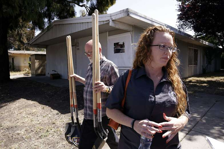 Michele Bonge, on Thursday May 29, 2014, in Richmond, Calif., will be one of the woman taking up residence at the building behind here, which will provide housing and supportive services to formally incarcerated woman.  A groundbreaking kicks off the plans to provide women with temporary housing and services to women of Contra Costa County.