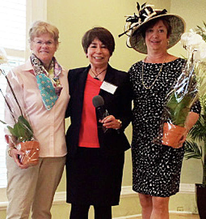 The Westport Woman's Club recognized two members at a May luncheon. From left: Clare Clark, who was named  volunteer of the year; club president  Mary Lee Clayton; and Wendy McKeon, recognized as Most Active Member. Photo: Contributed Photo / Westport News