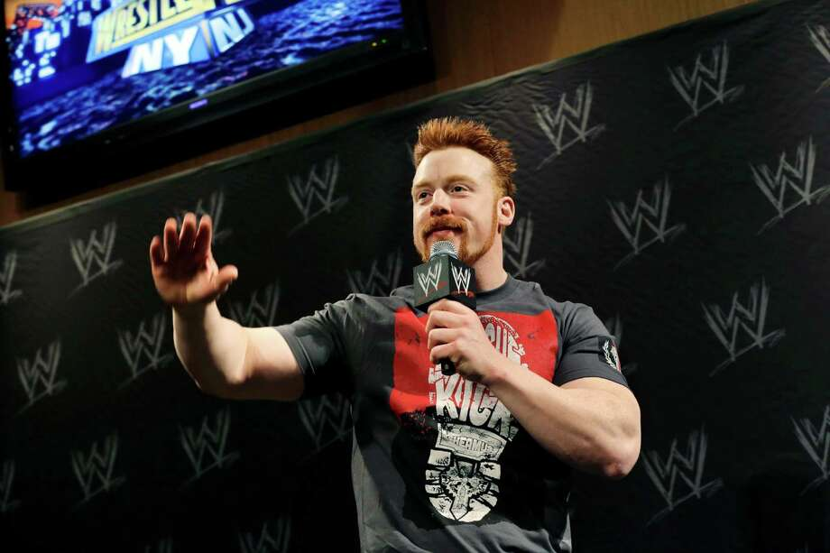 Stephen Farrelly, of Ireland, known as Sheamus, answers a question during a news conference before last year's WWE Wrestlemania in East Rutherford, N.J. WWE Studios, the film and TV arm of the entertainment company, is extending its partnership with Lionsgate to produce six more action movies featuring WWE Superstars. (AP Photo/Mel Evans) Photo: Contributed Photo, Associated Press / Stamford Advocate Contributed