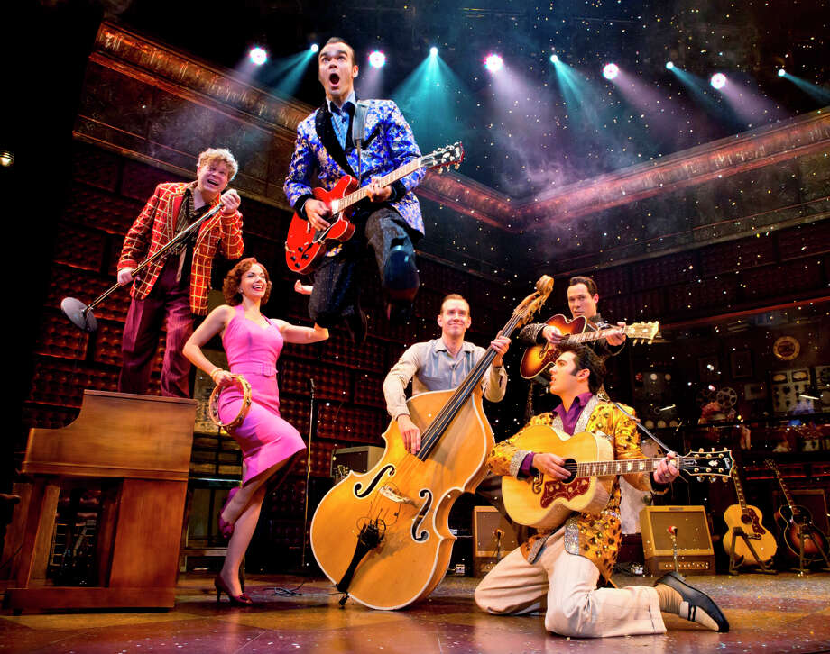 "The national tour of ""Million Dollar Quartet"" arrives at the Palace Theater in Waterbury on Friday, June 6. The cast features (left to right) John Countryman as Jerry Lee Lewis, Kelly Lamont, James Barry as Carl Perkins, Corey Kaiser as Jay Perkins, Scott Moreau as Johnny Cash and Tyler K. Hunter as Elvis Presley. Photo: Contributed Photo / Connecticut Post Contributed"