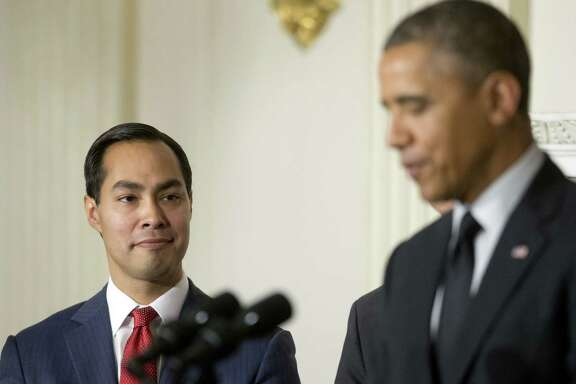 San Antonio Mayor Julián Castro listens to President Barack Obama announce his nomination to lead HUD.