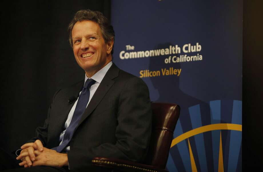 Timothy Geithner talks about the bank bailout and other steps he oversaw to rescue the economy at a Commonwealth Club appearance in Santa Clara. Photo: Lea Suzuki, The Chronicle