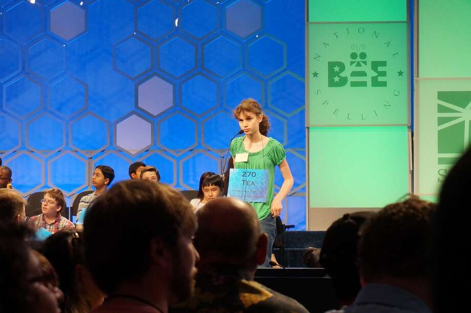 Téa Freedman-Susskind of Redmond competes at the spelling bee. Photo by Siobhan O'Grady.