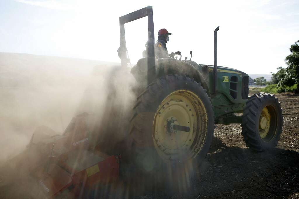 Farmer Tony Mellow Rototills A Field With His Tractor At S Nursery Farms In