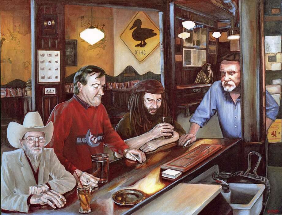 This is a painting by Blue Moon bartender Mary A. McIntyre, which depicts Blue Moon regulars (L to R) John Huston (in cowboy hat), Gus Hellthaler (owner, in red sweatshirt), Matt Taylor (in dreadlocks), and Andy King (far right). Photo: PAINTING BY MARY A. MCINTYRE
