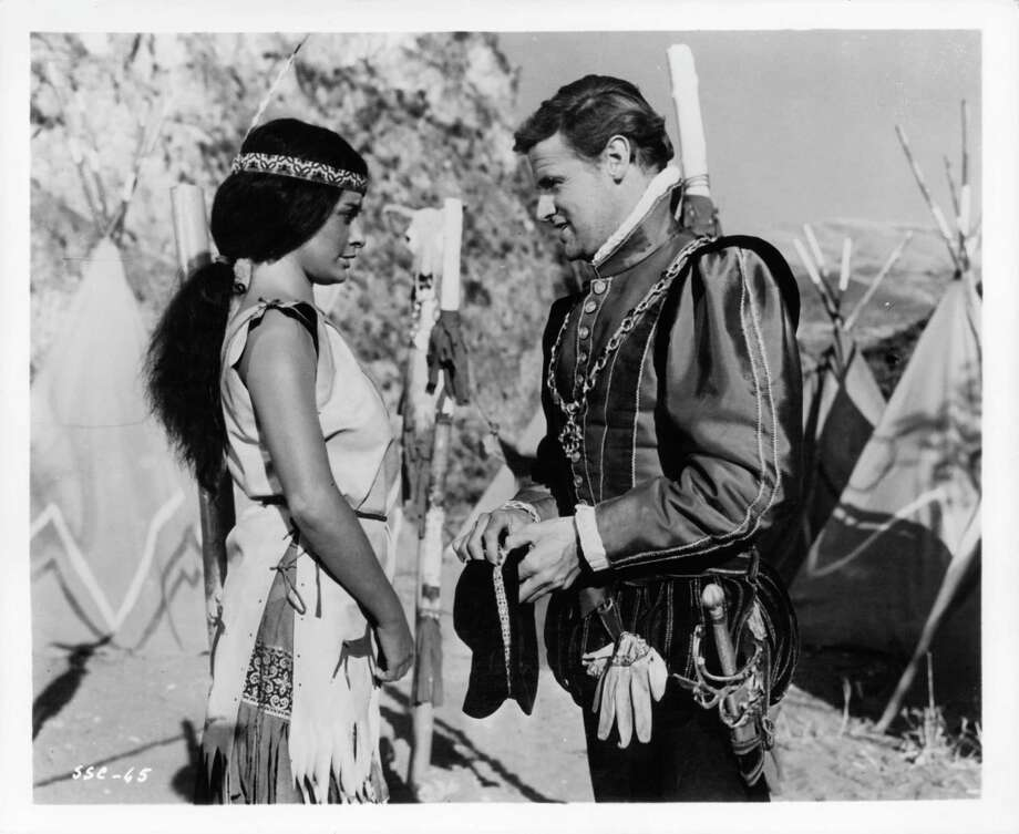 Anna Santasiero (Native American girl) meets Keith Michell in a scene from the film 'Seven Seas To Calais', 1962. Photo: Archive Photos, Getty / 2012 Getty Images