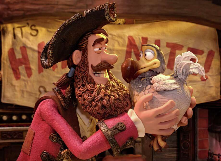 The Pirate Captain (voiced by Hugh Grant) with Polly in THE PIRATES! BAND OF MISFITS (2012), an animated film produced by Aardman Animation for Sony Pictures Animation. Photo: Getty / ONLINE_YES