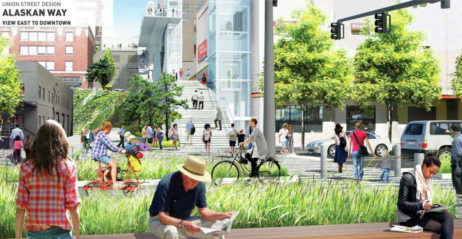 A proposed walkway along the Union Street right of way, from Post Alley to Alaskan Way, is shown as it would be seen from the waterfront, after the viaduct is torn down, in this artist's depiction. Photo: Seattle Office Of The Waterfront