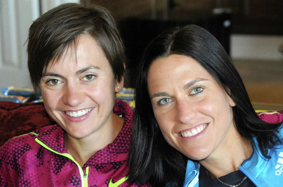 South African sisters Christine and Rene Kalmer elite runners who will compete in the Freihofer's Run for Women this Saturday on Thursday May 29, 2014 in Albany, N.Y. (Michael P. Farrell/Times Union) Photo: Michael P. Farrell / 00027074A