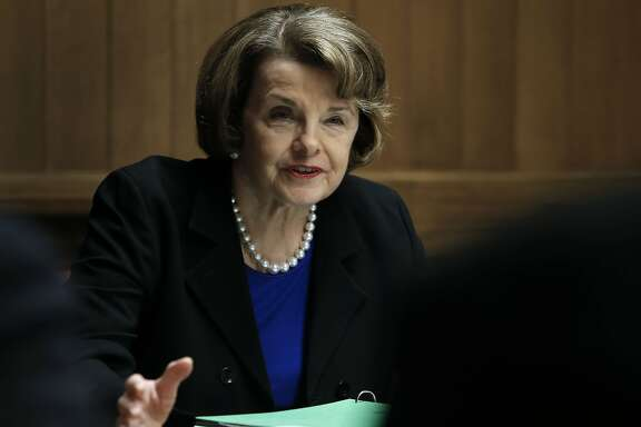 California Senator Dianne Feinstein speaks with the San Francisco Chronicle editorial board on Thursday May 29, 2014, in San Francisco, Calif.