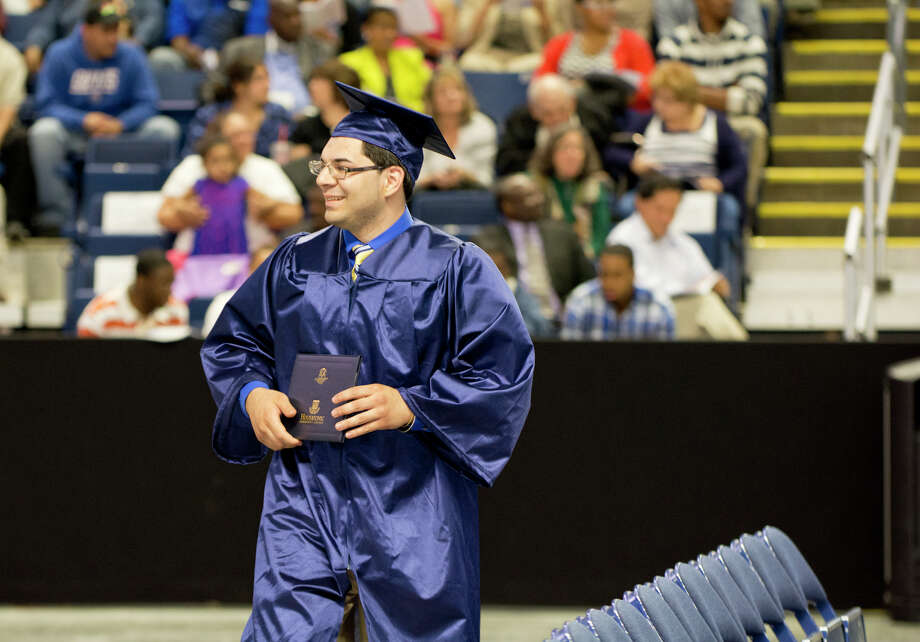 Graduate Michael Irizarry during Housatonic Community College's 47th commencement at Webster Bank Arena in Bridgeport on May 29, 2014. Photo: Amy Mortensen / Connecticut Post Freelance