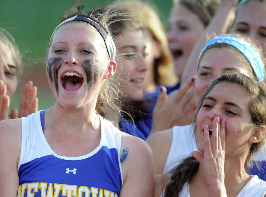 Photos from Newtown's 12-8 win over Brookfield in the high school girls lacrosse SWC Division 1 Championship game at Pomperaug High School in Southbury, Conn. Thursday, May 29, 2014. Photo: Tyler Sizemore / The News-Times