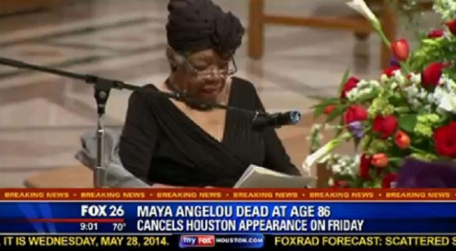 KRIV-TV, a Fox News affiliate, made a blooper on their morning newscasts regarding the death of Maya Angelou. In their lower-third, they said she had canceled her Houston appearance because of the whole death thing. That managed to get them a thorough thrashing on the Internet. Photo: TVSpy, KRIV-TV