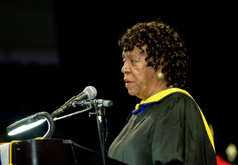 Deloris Curtis, Director of Admissions, during Housatonic Community College's 47th commencement at Webster Bank Arena in Bridgeport on May 29, 2014. Photo: Amy Mortensen / Connecticut Post Freelance