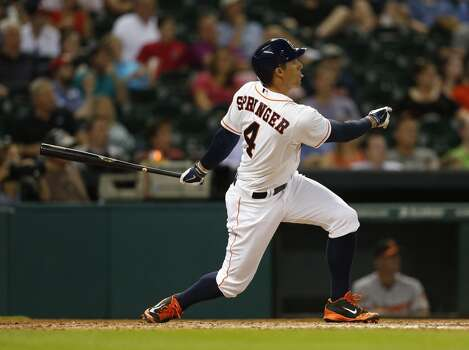 May 29: Astros 3, Orioles 1  Rookie sensation George Springer belted his 10th home run as the Astros ran their winning streak to six.  Record: 23-32. Photo: Karen Warren, Houston Chronicle