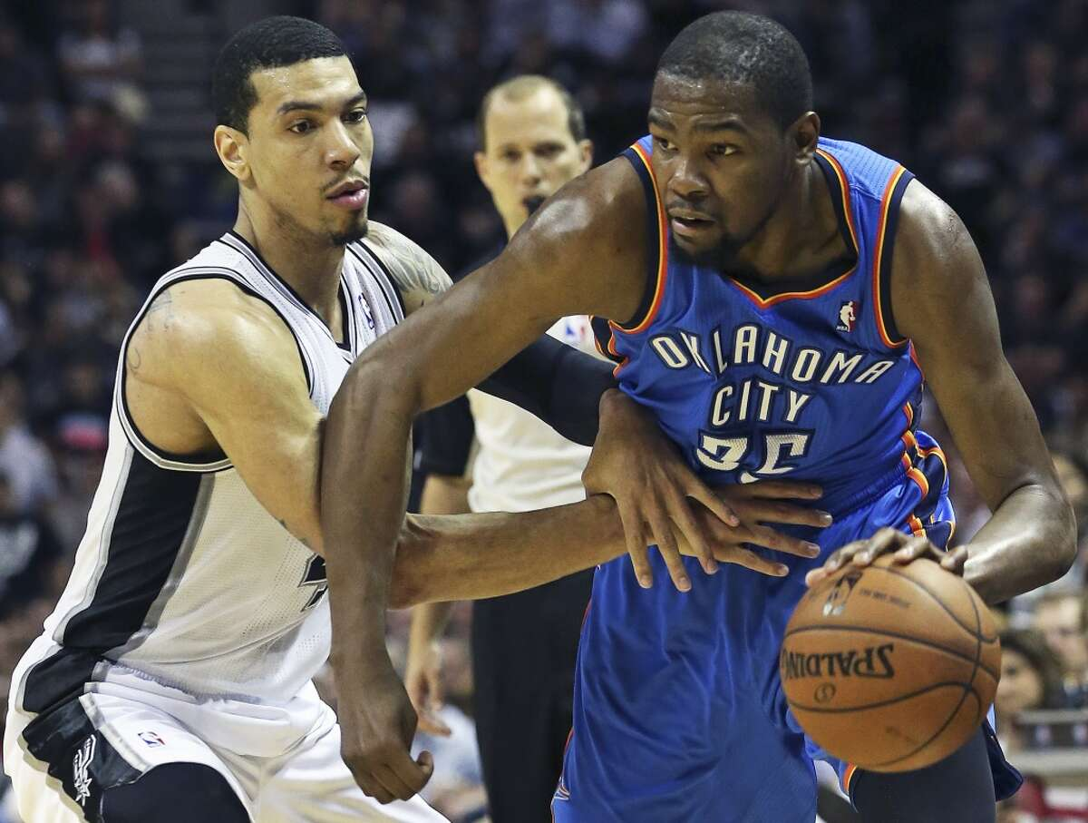 Danny Green pressures Kevin Durant as the Spurs play the fifth game of the Western Conference Finals against the Oklahoma City Thunder on May 29, 2014.