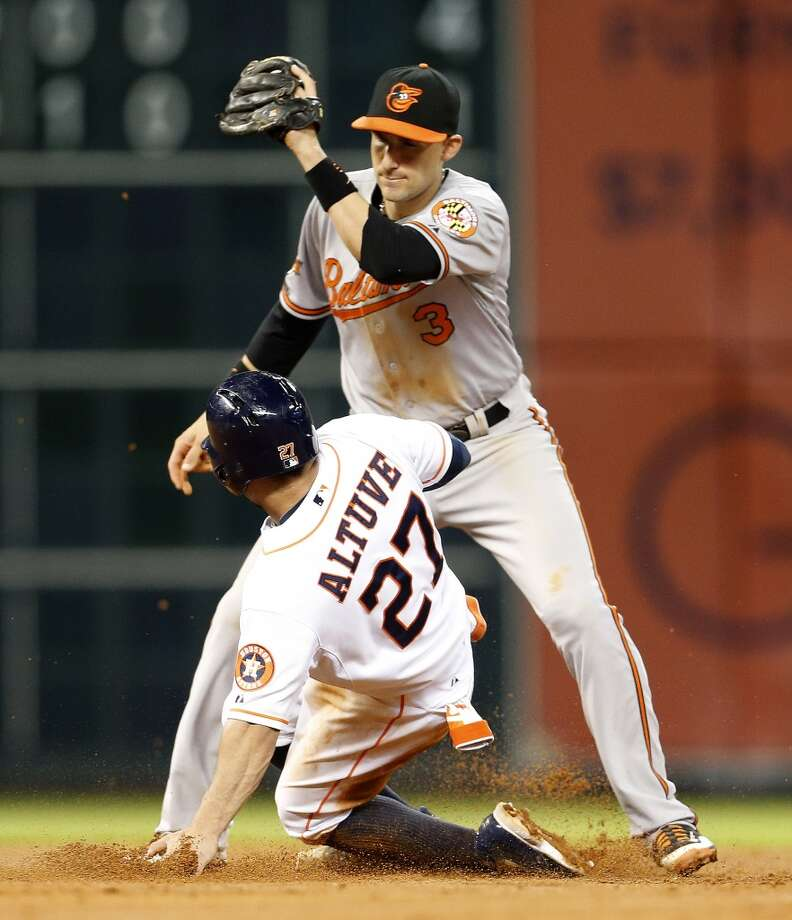 Astros second baseman Jose Altuve steals second base. Photo: Karen Warren, Houston Chronicle