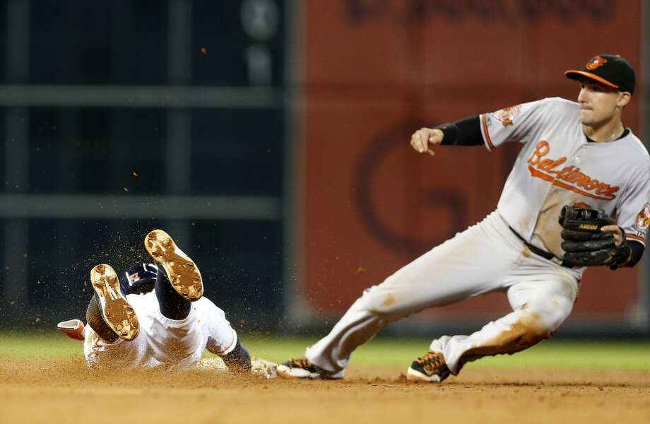 Astros second baseman Jose Altuve steals second. Photo: Karen Warren, Houston Chronicle