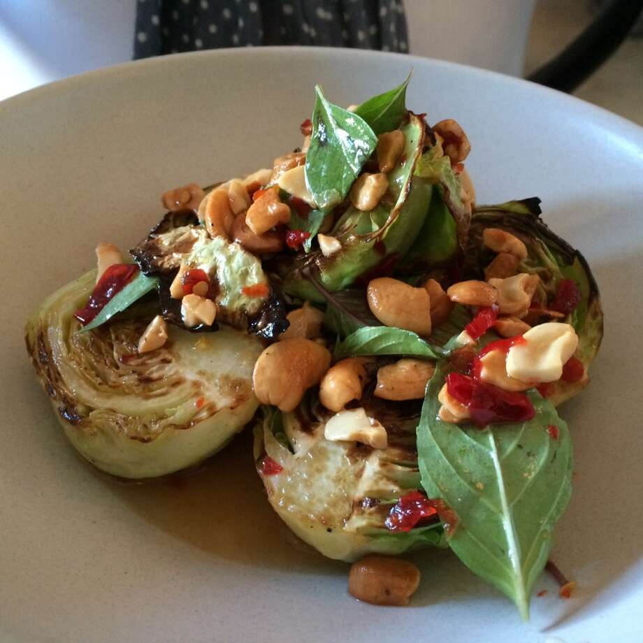Molina, Mill Valley: A first for me - -baby cabbage that's charred in the wood oven and flavored with a house-made Thai red curry and salted cashews ($11)