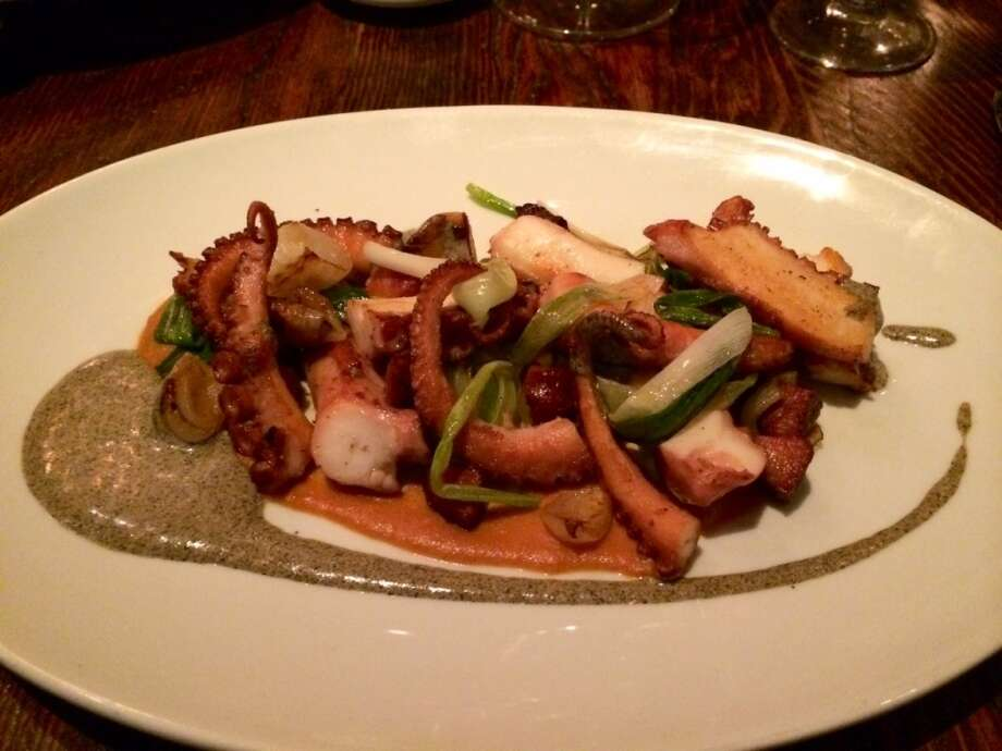 Wayfare Tavern: Seared octopus with charred scallion hollandaise and onions ($15)