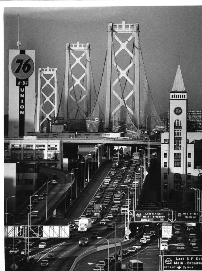 The lost building that wasn't on my list but was mentioned the most by readers was the Union 76 clock tower. Despite its relatively modest height -- 183 feet -- the structure's proximity to the bridge and placement atop Rincon Hill guaranteed its symbolic presence at our eastern portal (this photograph accentuates the prominence of the tower to the right, which survives as a loft complex). Built in 1954, demolished in 2005, replaced by a pair of towers, the tallest of which stood alone for years and was likened to an air purifier. Photo: Deanne Fitzmaurice, The Chronicle
