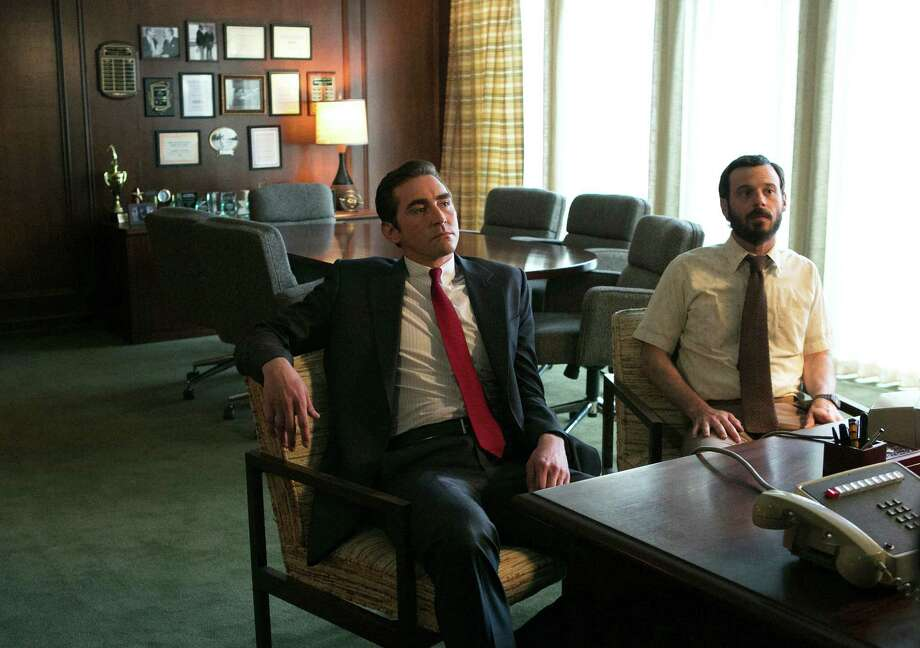 "This photo released by AMC shows Lee Pace, left, as Joe MacMillan and Scoot McNairy as Gordon Clark, in a scene from the television series, ""Halt and Catch Fire,"" season 1. The drama, which debuts Sunday, June 1, 2014, is set during the 1980s race to develop and market personal computers. (AP Photo/AMC, Tina Rowden) ORG XMIT: CAET588 Photo: Tina Rowden / AMC"