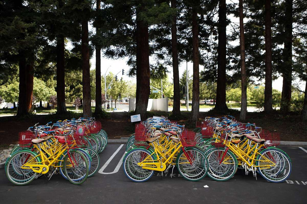 Google bikes are seen parked on the Googleplex campus in Mountain View, CA, Saturday May 24, 2014.