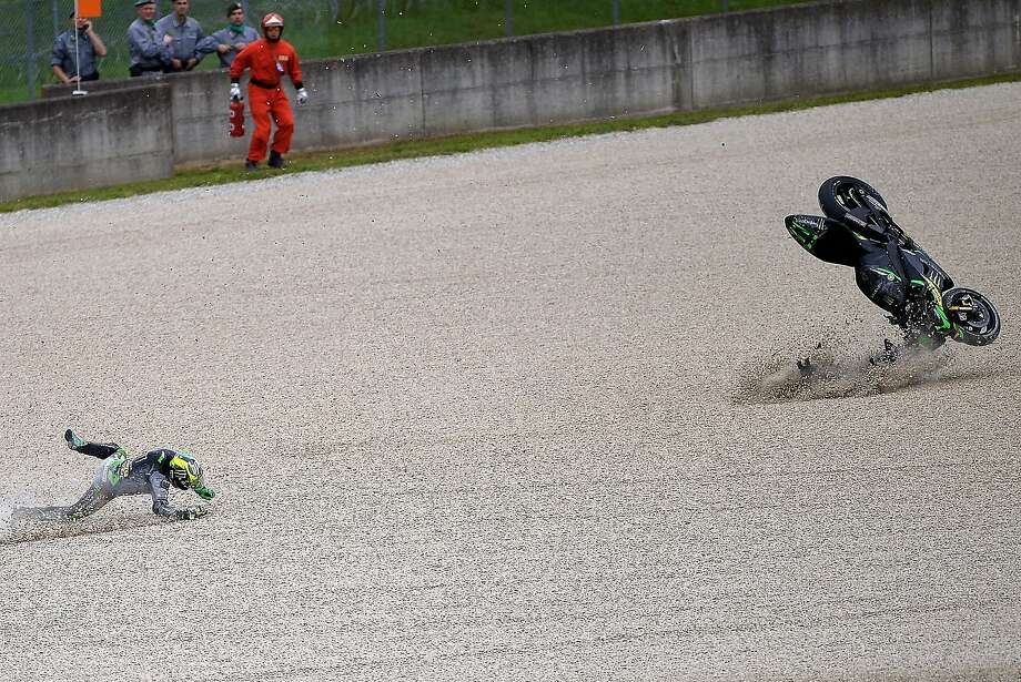 Pol vault:Yamaha MotoGP rider Pol Espargaro flies off his bike while wiping out during the first 