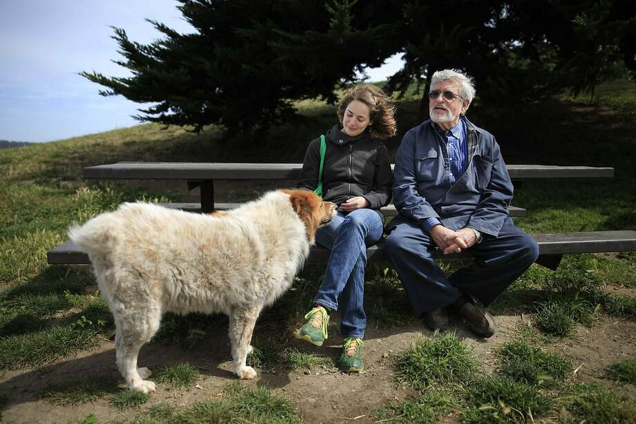 UC Berkeley Professor Richard Taruskin sits with doctoral student Nell Cloutier before beginning a long walk at Point Isabel in Richmond. Photo: Lea Suzuki, The Chronicle