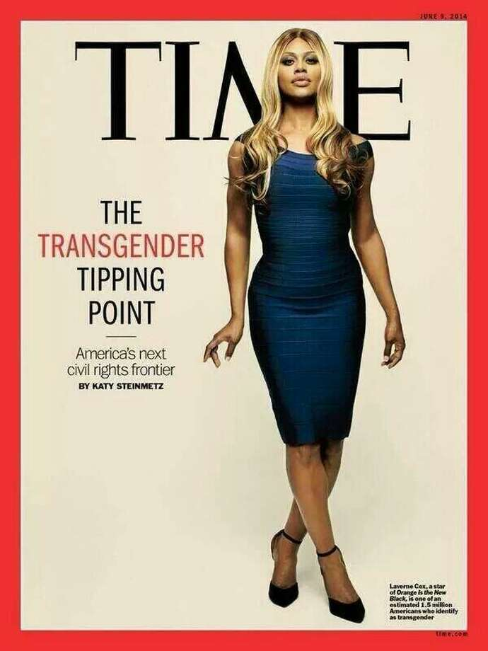 """Transgender actress Laverne Cox (""""Orange is the New Black"""") is featured in a Time Magazine cover story about transgender civil rights. The feature came just months after some readers complained that Cox had been conspicuously left off the magazine's most influential people list. Photo: Time Magazine"""