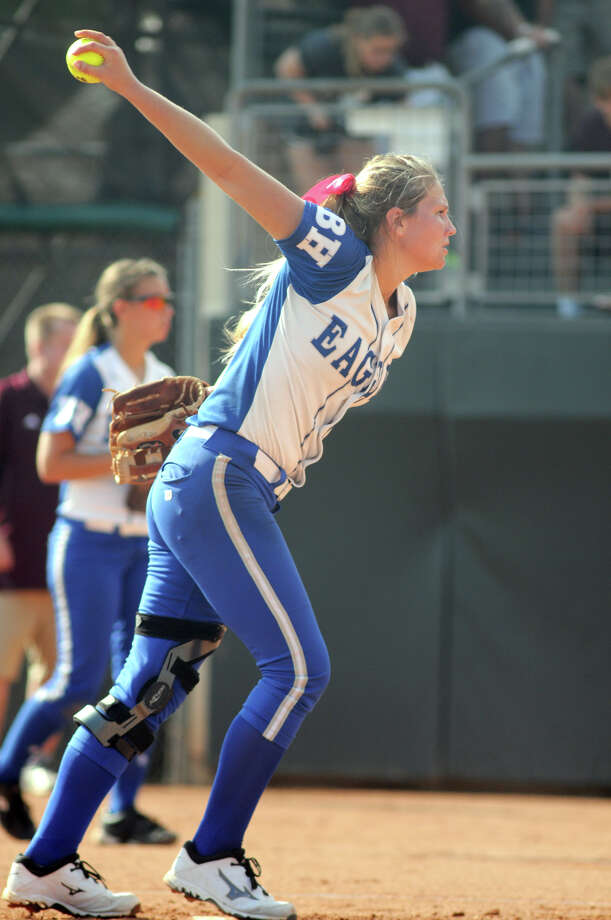 Barbers Hill senior pitcher Randi Rupp works to an Ennis hitter in the top of the 2nd inning of their Class 4A semifinal matchup at the 2014 UIL Softball State Championsips at McCombs Field in Austin on Friday. Photo: Jerry Baker, For The Chronicle