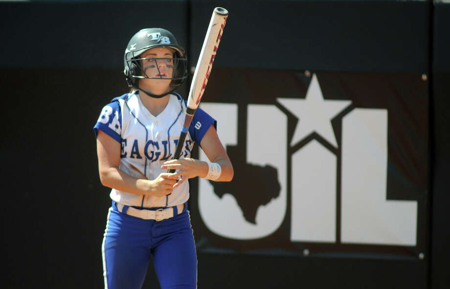Barbers Hill senior third baseman Sarah Barker prepares to bat in the bottom of the 6th inning against Ennis during their Class 4A semifinal matchup at the 2014 UIL Softball State Championsips at McCombs Field in Austin on Friday. Photo: Jerry Baker, For The Chronicle