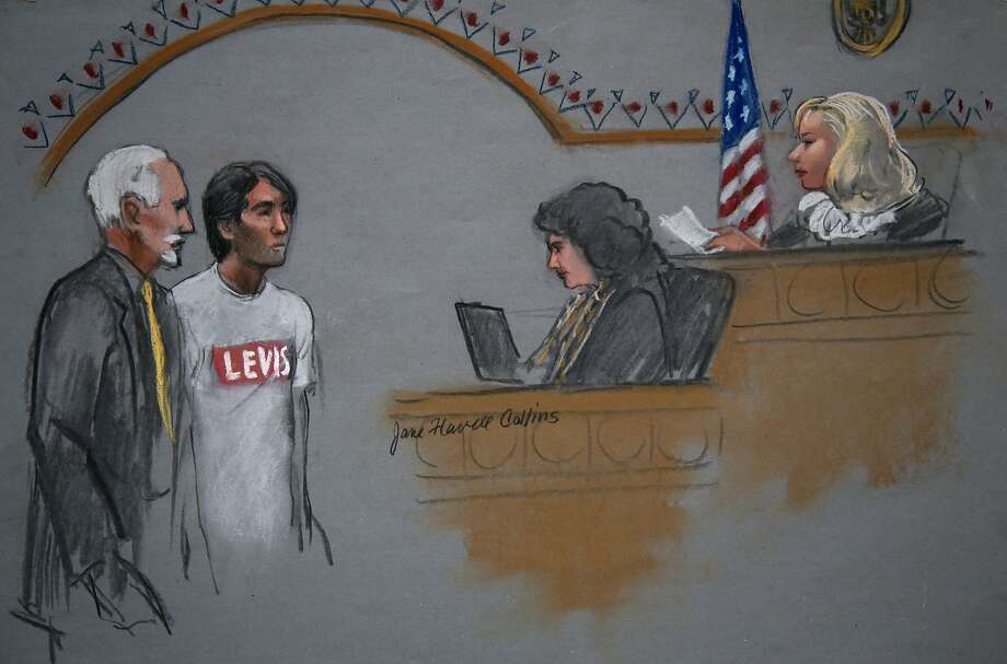 In this courtroom sketch, Khairullozhon Matanov, second from left, with attorney Paul Glickman, left, appears in federal court before Magistrate Judge Marianne B. Bowler, right, Friday, May 30, 2014, in Boston. Matanov, a friend of the brothers suspected of carrying out the 2013 Boston Marathon bombings, faces federal charges he destroyed, altered and falsified records, and made false statements to obstruct the investigation into the bombings. Matanov, arrested Friday morning at his apartment in Quincy, Mass., is a legal resident of the U.S. originally from Kyrgyzstan. (AP Photo/Jane Flavell Collins) Photo: Jane Flavell Collins, Associated Press