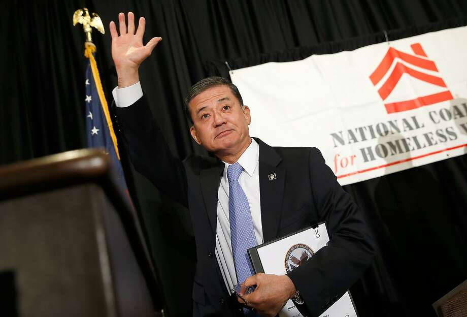 Eric Shinseki, who resigned as Veterans Affairs secretary amid uproar over patient care, waves goodbye after addressing the National Coalition for Homeless Veterans. Photo: Win McNamee, Getty Images