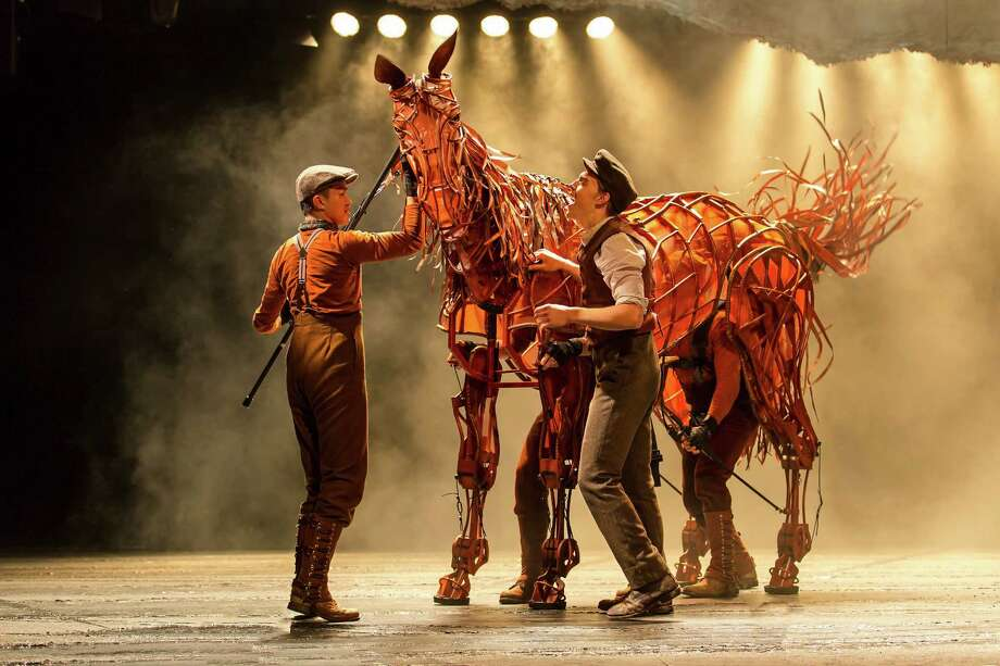 """Joey the horse, a life-size puppet  manipulated by four handlers, seems as human as the humans in """"War Horse."""" Photo: Brinkhoff/Moegenburg / Brinkhoff/Moegenburg"""