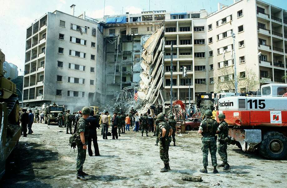 A car bombing of the American Embassy in Beirut, Lebanon, in April 1983, resulted in the deaths of 63 people. Of the 17 Americans killed, eight worked for the CIA, including its top Middle East analyst and Near East director, Robert Ames. / AP
