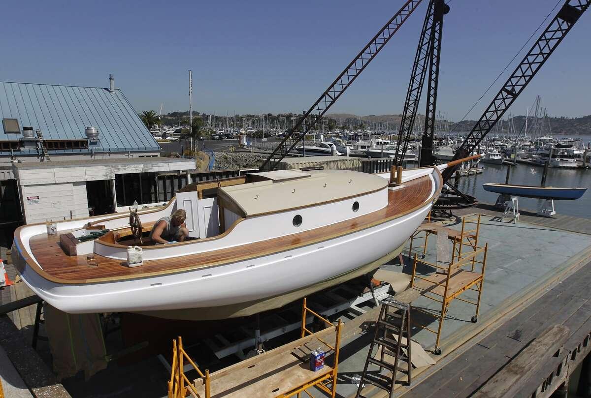 Repair work on the historic yacht Freda nears completion at the Spaulding Wooden Boat Center in Sausalito, Calif. on Thursday, May 29, 2014. The Freda, the oldest yacht on the West Coast, will be rechristened and launched Saturday after an extensive restoration project.