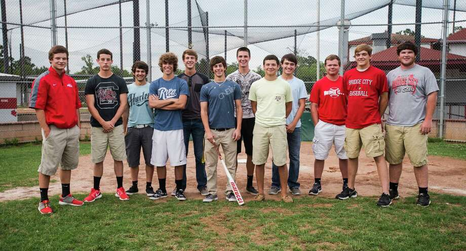 Left to right: Chase Shugart, Ryne Shugart, Jonah Watts, Kolten Bergeron, Blaine Slaughter, Tryce Howard, Matthew Kress, Dillon Taylor, Coby Roddy, Blake Pruett, Corbin Voegeli, and Bryce Carey. Not pictured: Chase Rutledge. The 2009 Bridge City Little League team met for a photo at the league's fields Wednesday afternoon, five years after they advanced to just one game away from the little league World Series.